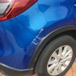 Guard and bar dent with scraping BEFORE