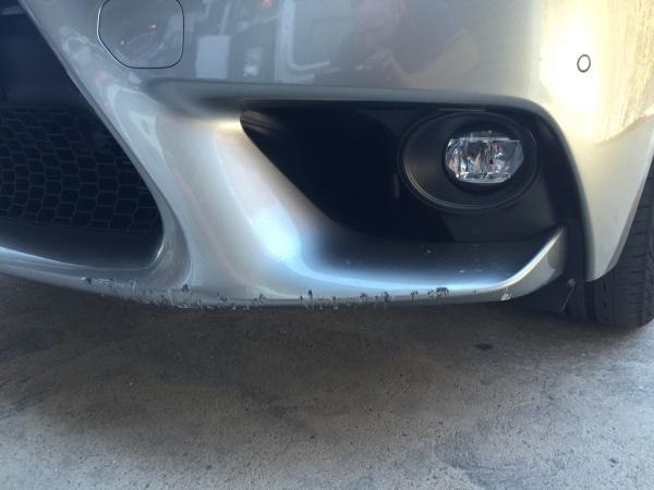 Lexus deep scratches front bar BEFORE