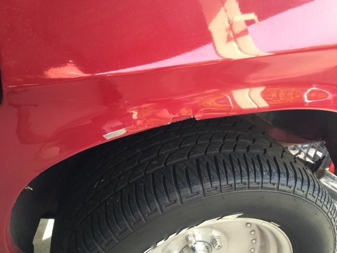 Rear guard fibreglass crack repair before
