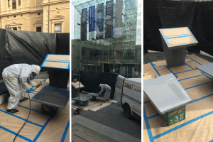Respraying pedestals at the State Library in Adelaide