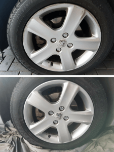 Painted alloy wheel with repaired gutter rash
