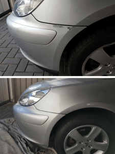 Paint repair on front guard and bumper