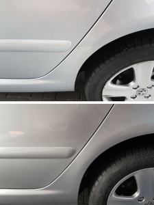 Dog leg and rear door paint and dent repair