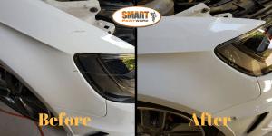 Convenient Car Scratch Repair on a Pearl White Vehicle